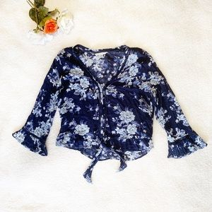 American Eagle Dark Blue Floral Front Tie Shirt